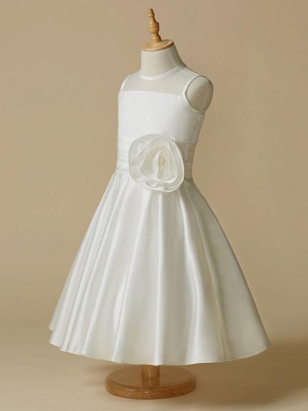 A-Line Tea Length Wedding / First Communion Flower Girl Dresses - Taffeta Sleeveless Jewel Neck With Flower_3