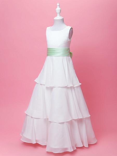 Princess / A-Line Floor Length Wedding / First Communion Chiffon / Satin Sleeveless Scoop Neck With Sash / Ribbon / Bow(S) / Draping / Spring / Fall / Winter_2