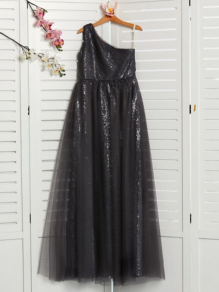 A-Line One Shoulder Maxi Tulle Junior Bridesmaid Dress With Beading_1
