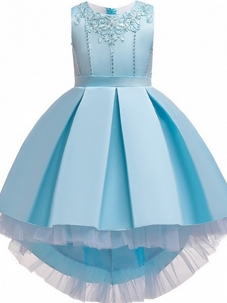 Princess / Ball Gown Knee Length Wedding / Party Flower Girl Dresses - Lace / Satin Sleeveless Jewel Neck With Sash / Ribbon / Pleats / Embroidery_9