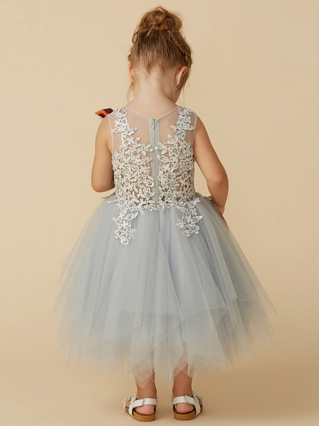 Princess Tea Length Pageant Flower Girl Dresses - Tulle Sleeveless Jewel Neck With Lace / Appliques_2