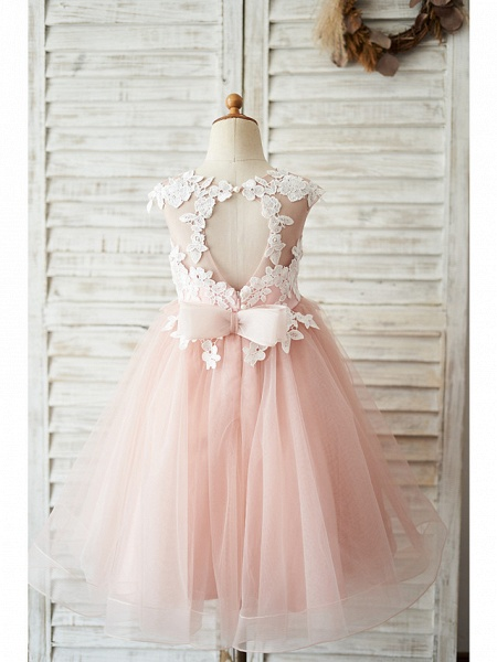 Ball Gown Knee Length Wedding / Birthday Flower Girl Dresses - Satin / Tulle Sleeveless Jewel Neck With Bow(S) / Appliques_2