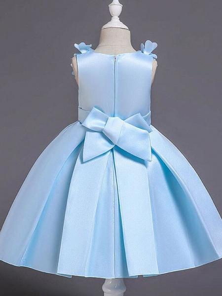 Princess Knee Length Wedding / Party / Pageant Flower Girl Dresses - Satin / Cotton Sleeveless Jewel Neck With Petal / Belt / Bow(S)_10
