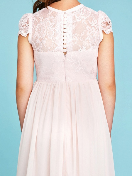 Princess / A-Line Crew Neck Floor Length Chiffon / Lace Junior Bridesmaid Dress With Buttons / Pleats / Wedding Party / See Through_9