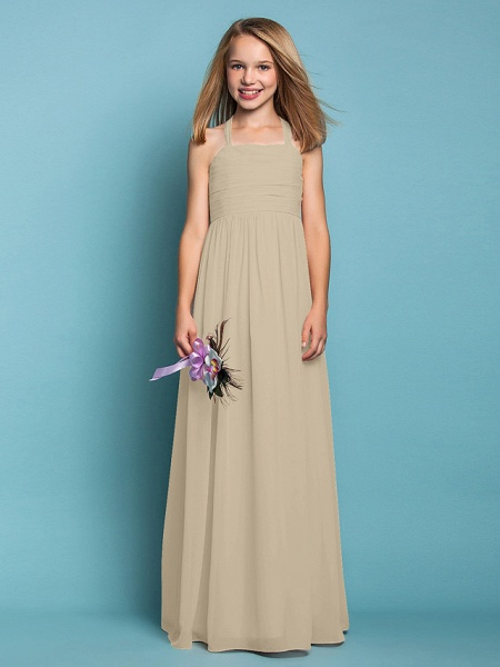Sheath / Column Halter Neck Floor Length Chiffon Junior Bridesmaid Dress With Ruched / Spring / Summer / Fall / Apple / Hourglass_21