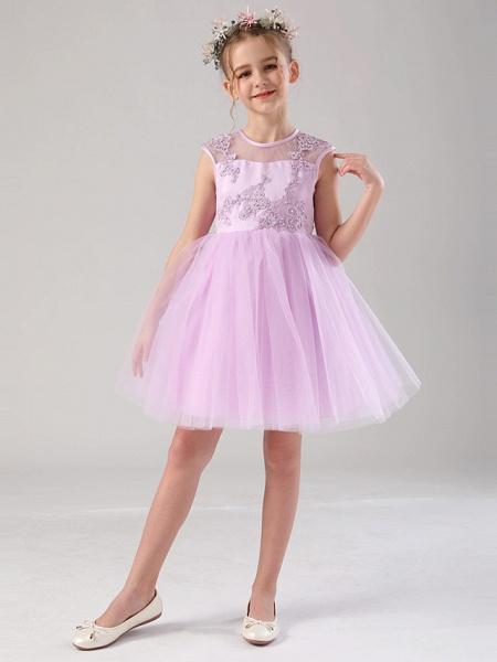 Princess / Ball Gown Medium Length Wedding / Birthday Flower Girl Dresses - Satin / Tulle Sleeveless Jewel Neck With Beading / Appliques / Solid_6