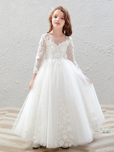 Princess / Ball Gown Ankle Length Wedding / Party Flower Girl Dresses - Tulle 3/4 Length Sleeve Jewel Neck With Pleats / Appliques_2