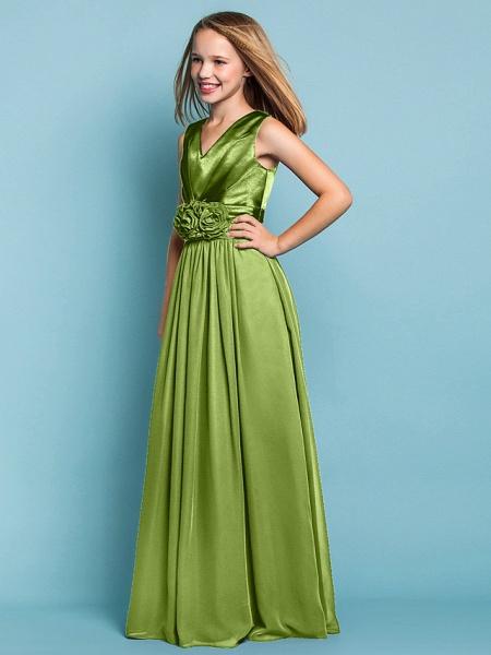 Sheath / Column V Neck Floor Length Chiffon Junior Bridesmaid Dress With Flower / Spring / Summer / Fall / Apple / Hourglass_31
