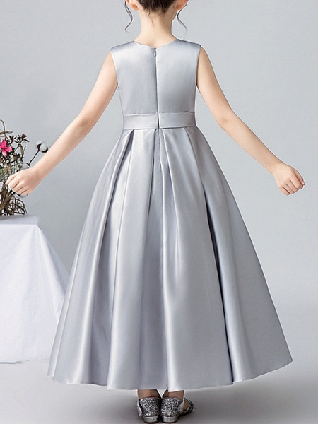 A-Line Round Ankle Length Satin Junior Bridesmaid Dress With Pleats / Appliques_4
