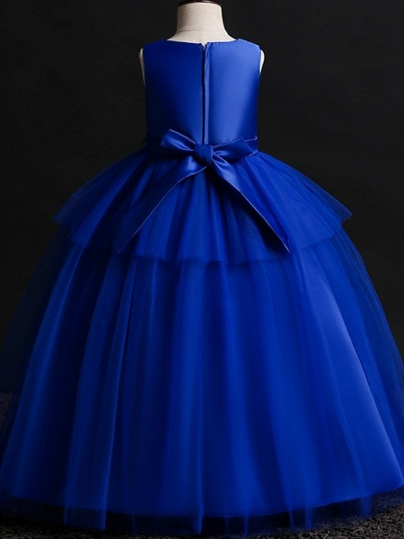 Princess / Ball Gown Floor Length Wedding / Party Flower Girl Dresses - Satin / Tulle Sleeveless Jewel Neck With Bow(S) / Appliques_6