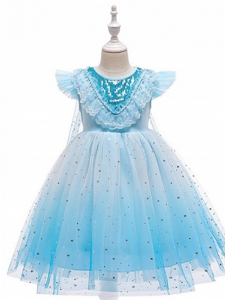 Princess / Ball Gown Knee Length Wedding / Party Flower Girl Dresses - Tulle Cap Sleeve Jewel Neck With Tier / Paillette_3