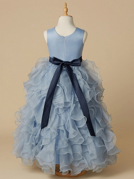 Ball Gown Floor Length Pageant Flower Girl Dresses - Organza / Satin Sleeveless Jewel Neck With Bow(S)_2