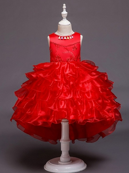 Princess / Ball Gown Knee Length Wedding / Party Flower Girl Dresses - Satin / Tulle Sleeveless Jewel Neck With Bow(S) / Beading / Cascading Ruffles_5