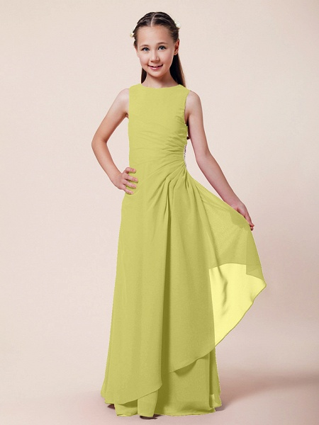 A-Line / Sheath / Column Bateau Neck Floor Length Chiffon Junior Bridesmaid Dress With Beading / Side Draping / Spring / Summer / Fall / Winter / Wedding Party_14