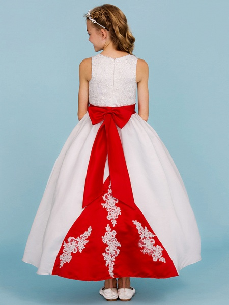 Ball Gown Crew Neck Ankle Length Lace / Satin Junior Bridesmaid Dress With Sash / Ribbon / Bow(S) / Beading / Color Block / Wedding Party_2