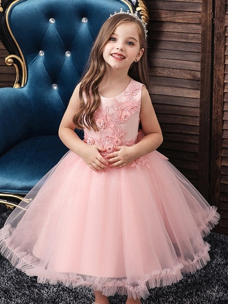 Princess / Ball Gown Knee Length Wedding / Party Flower Girl Dresses - Tulle Sleeveless Jewel Neck With Bow(S) / Beading / Appliques_1