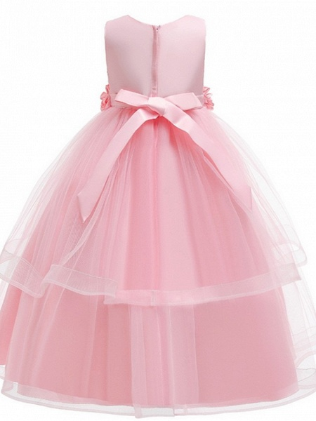 Princess Round Floor Length Cotton Junior Bridesmaid Dress With Bow(S) / Appliques_6
