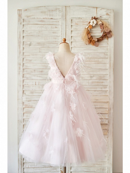 Ball Gown Tea Length Wedding / Birthday Flower Girl Dresses - Satin / Tulle Sleeveless Jewel Neck With Feathers / Fur / Lace / Belt_2