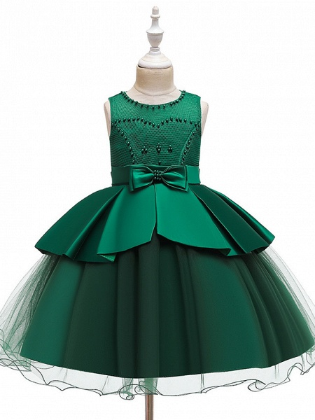 A-Line Knee Length Wedding / Party Communion Dresses - Tulle / Matte Satin / Poly&Cotton Blend Sleeveless Jewel Neck With Lace / Bow(S) / Beading_11