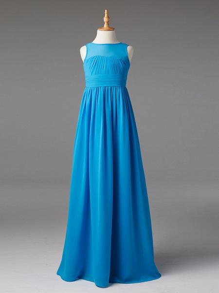 Princess / A-Line Jewel Neck Floor Length Chiffon Junior Bridesmaid Dress With Sash / Ribbon / Pleats_1