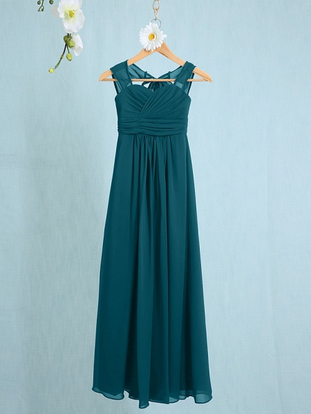 Sheath / Column Straps Ankle Length Chiffon Junior Bridesmaid Dress With Ruched / Natural_32