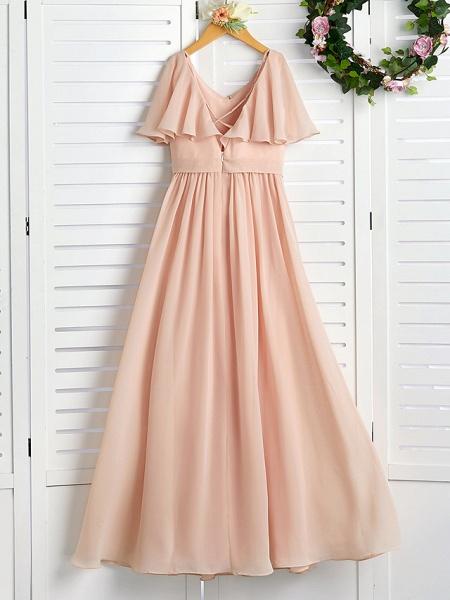 A-Line Jewel Neck Maxi Chiffon Junior Bridesmaid Dress With Ruffles / Ruching / Wedding Party_2