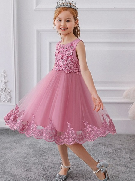 Ball Gown Knee Length Wedding / Party Flower Girl Dresses - Tulle Sleeveless Jewel Neck With Bow(S) / Appliques_1
