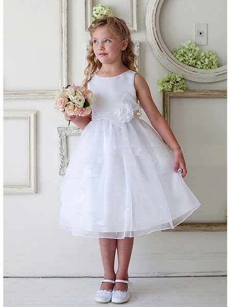 A-Line Knee Length Wedding / Party Flower Girl Dresses - Satin / Tulle Sleeveless Jewel Neck With Appliques / Ruching_1