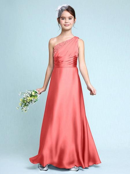 Sheath / Column One Shoulder Floor Length Chiffon Satin Junior Bridesmaid Dress With Ruched / Side Draping / Natural_14