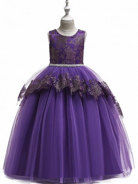 Princess Round Floor Length Cotton Junior Bridesmaid Dress With Bow(S) / Tier / Appliques_3
