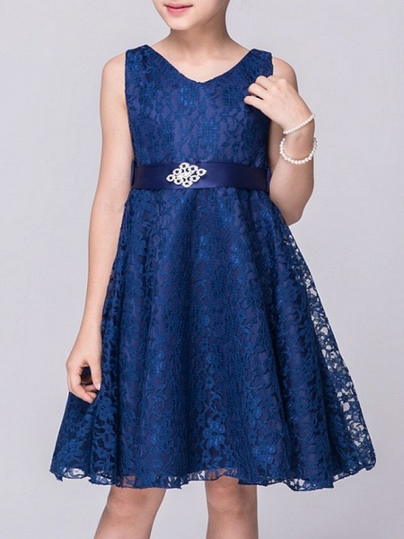 A-Line V Neck Knee Length Lace Junior Bridesmaid Dress With Sash / Ribbon_1