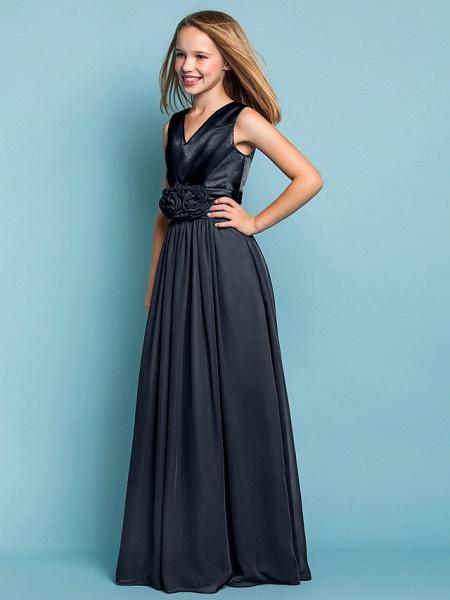 Sheath / Column V Neck Floor Length Chiffon Junior Bridesmaid Dress With Flower / Spring / Summer / Fall / Apple / Hourglass_35
