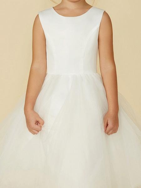 Princess Tea Length Wedding / First Communion Flower Girl Dresses - Satin / Tulle Sleeveless Jewel Neck With Lace_7