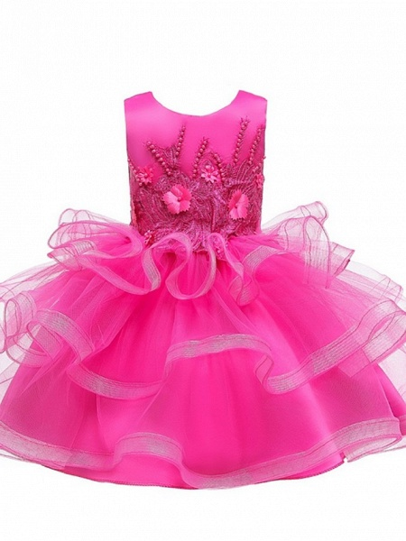 Princess / Ball Gown Knee Length Wedding / Party Flower Girl Dresses - Tulle Sleeveless Jewel Neck With Bow(S) / Appliques / Cascading Ruffles_9