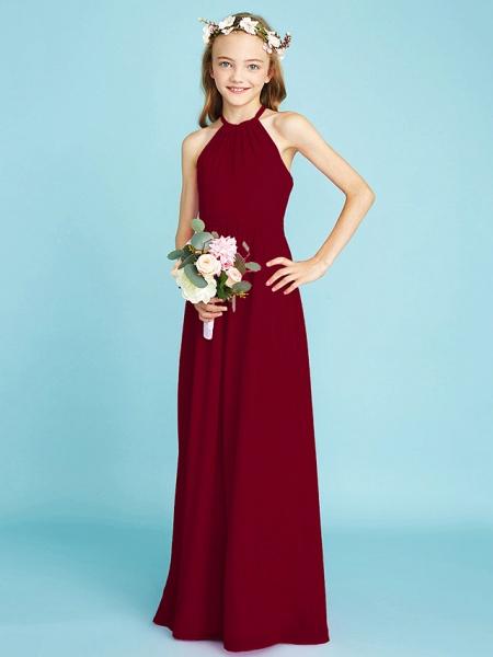 A-Line Halter Neck Floor Length Chiffon Junior Bridesmaid Dress With Sash / Ribbon / Natural_16