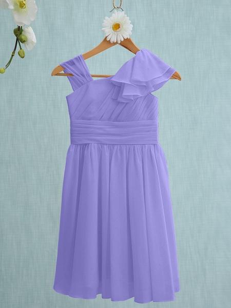 Sheath / Column Straps Knee Length Chiffon Junior Bridesmaid Dress With Ruffles / Side Draping / Natural_37