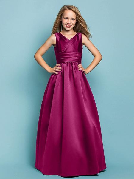Princess / A-Line V Neck Floor Length Satin Junior Bridesmaid Dress With Sash / Ribbon / Criss Cross / Spring / Summer / Fall / Apple / Hourglass_40