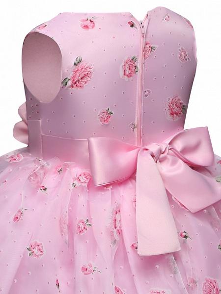 Princess Midi Wedding / Party Satin / Tulle Sleeveless Jewel Neck With Bow(S) / Tier / Pattern / Print_6