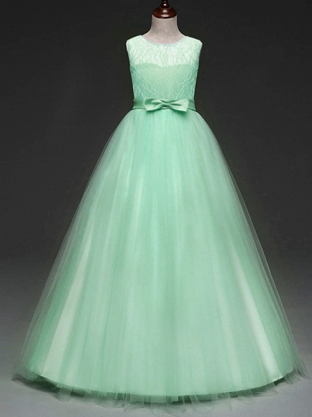 Ball Gown Floor Length Wedding / Party Flower Girl Dresses - Tulle Sleeveless Jewel Neck With Bow(S) / Solid_6