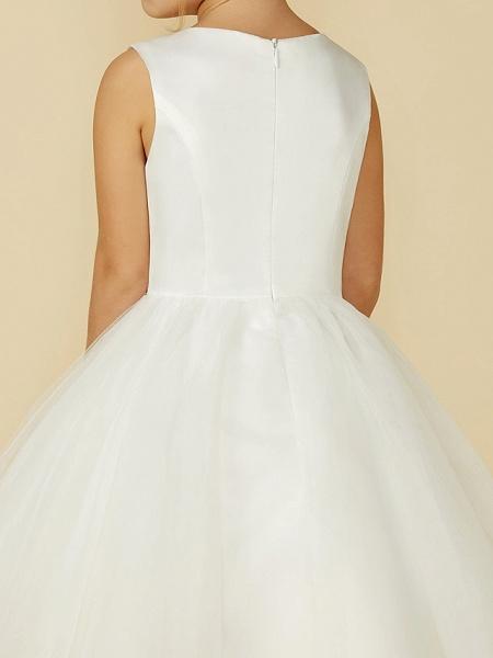 Princess Tea Length Wedding / First Communion Flower Girl Dresses - Satin / Tulle Sleeveless Jewel Neck With Lace_8