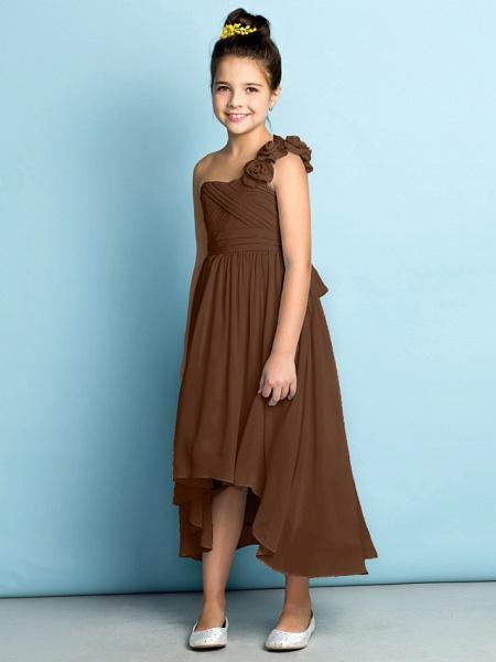 A-Line One Shoulder Asymmetrical Chiffon Junior Bridesmaid Dress With Criss Cross / Flower / Natural / Mini Me_26