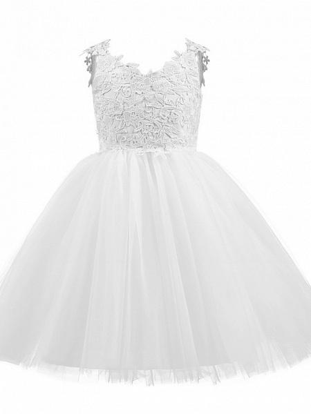 Princess Short Length Wedding / First Communion / Birthday Flower Girl Dresses - Taffeta / Tulle Sleeveless V Neck With Bow(S) / Appliques_1