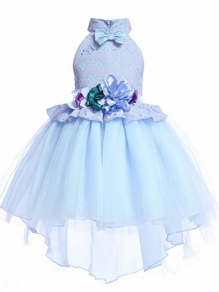 Princess Midi / Medium Length Pageant Flower Girl Dresses - Organza / Tulle Sleeveless Halter Neck With Petal / Lace / Solid_3