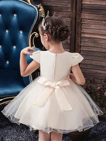 Princess / Ball Gown Knee Length Wedding / Party Flower Girl Dresses - Tulle Short Sleeve V Neck With Sash / Ribbon / Bow(S) / Appliques_4