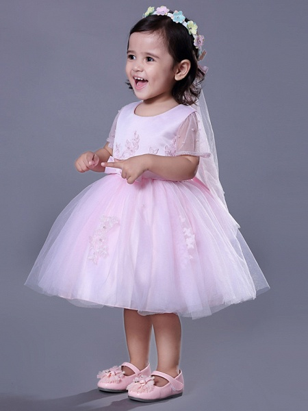 Ball Gown Royal Length Train / Medium Length Wedding / Party Flower Girl Dresses - Satin / Tulle Short Sleeve Jewel Neck With Beading / Appliques / Butterfly_5