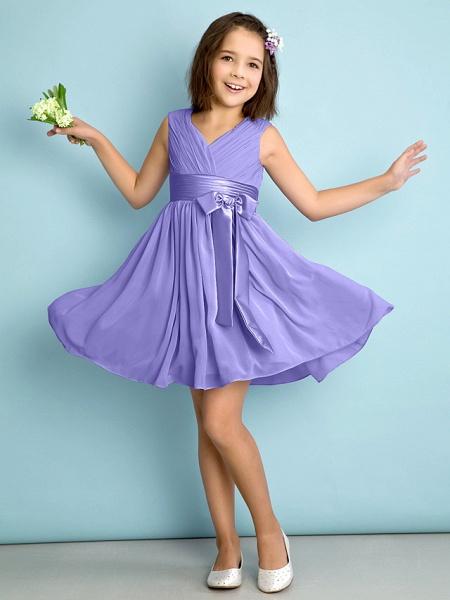 A-Line V Neck Knee Length Chiffon Junior Bridesmaid Dress With Bow(S) / Criss Cross / Natural_37