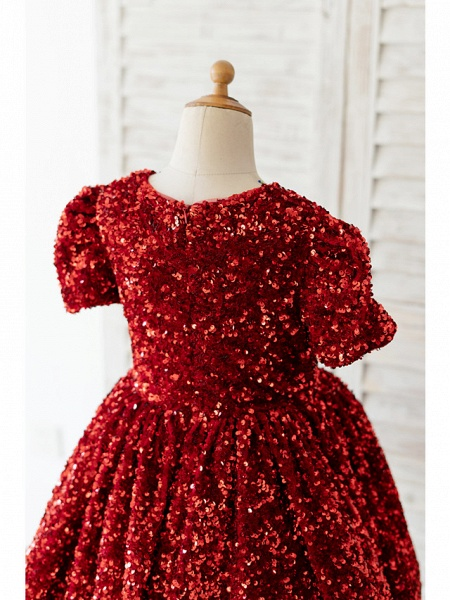 Ball Gown Knee Length Wedding / Birthday Flower Girl Dresses - Sequined Short Sleeve Jewel Neck With Petal / Paillette_4