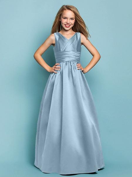 Princess / A-Line V Neck Floor Length Satin Junior Bridesmaid Dress With Sash / Ribbon / Criss Cross / Spring / Summer / Fall / Apple / Hourglass_30