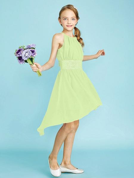 Sheath / Column Jewel Neck Asymmetrical Chiffon Junior Bridesmaid Dress With Sequin / Natural_42