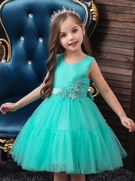 Princess / Ball Gown Knee Length Wedding / Party Flower Girl Dresses - Tulle Sleeveless Jewel Neck With Sash / Ribbon / Bow(S) / Appliques_1